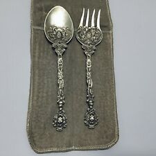 Vintage Montagnani Italy Ornate Silverplate Serving Utensil Set 2 Fork and Spoon