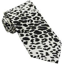 New Vesuvio Napoli Polyester Men's Neck Tie necktie animal leopard print white