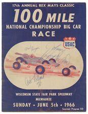 Vintage 1966 Indy Car Race Program Milwaukee Mario Andretti Signed Signature