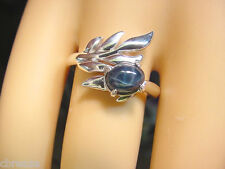 DEEP BLUE GENUINE STAR SAPPHIRE 1.25 CTS  ARTISTIC  925 STERLING SILVER RING