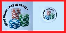 24 White 40mm RF18 Stag Do Poker Style Labels Stag Night Party Stickers