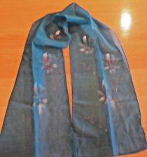 VINTAGE 1960's HAND PAINTED SCARF TURQUOISE BLUE w WHITE & GOLD FLOWERS 8.5 x 47