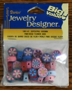 32 Darice Fimo Polymer Flower Bead Disks Pink Purple Blue Red Jewelry Designer
