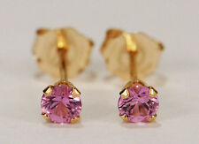 BEENJEWELED GENUINE NATURAL MINED PINK SAPPHIRE EARRINGS~ 14 KT YELLOW GOLD~3MM