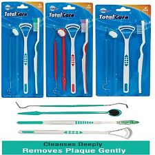Oral Dental Care Kit Tooth Brush Tongue Scrapper Mirror Pick Plaque Floss Stain