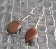 PICASSO JASPER CRYSTAL GEMSTONE EARRINGS, BROWN, DANGLE, PIERCED, NEW,AUSTRALIAN