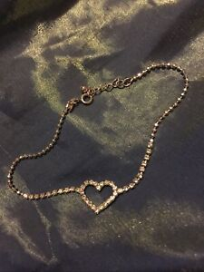 Heart Anklet With Rhinestones