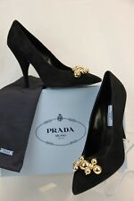PRADA Black Suede Gold Tone Jeweled Pointy Toe Classic PUMPS 39 Italy