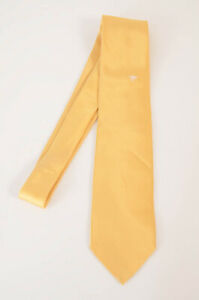 Stefano Ricci gold yellow satin ruby logo classic self tie neck tie NEW $200