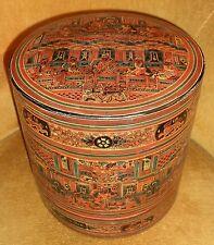 Antique Oriental Burmese Lacquer Betel Box Boite Ancienne Bois Laqué Birmanie