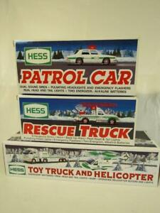 LOT 3 HESS TOY TRUCKS - RESCUE; PATROL CAR; TRUCK & HELICOPTER - MINT IN BOX