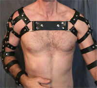 Sexy Mens Faux Leather Chest Arm Harness Strap Goth Punk Chest Belt Clubwear