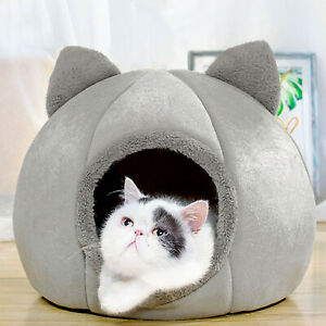 Cat Pet Dog Warm House Cave Beds for Indoor Cats Cozy Wool Igloo Nest Kennel M