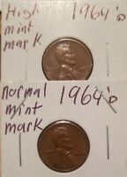 1964 D Lincoln penny High Mint Mark D Stamp. Error coin