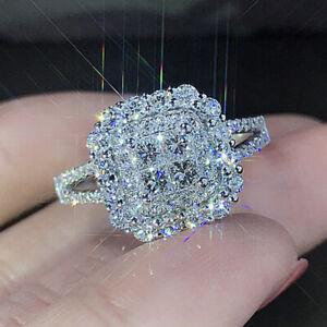 Gorgeous 925 Silver Wedding Rings Women Jewelry White Sapphire Rings Sz 6-10