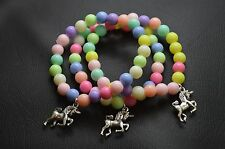 3 Girl Kawaii Pastel Pink Rainbow Unicorn Charm Bead Bracelets Party Bag Fillers