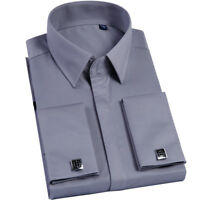 NEW MEN'S FRENCH CUFF BUSINESS FORMAL DRESS SHIRT WITH CUFF LINKS WEDDING GT432