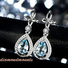 18K White Gold Natural Pear Blue Aquamarine Diamond Drop Women Wedding Earrings