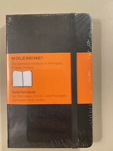 New Moleskin Hard Cover Black Ruled Notebook Journal Leather Bound 192Pg 3.5x5.5