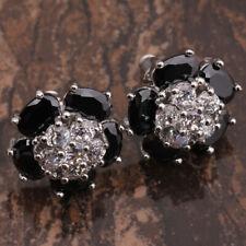 Flower Black Onyx & CZ Silver Stud Earrings
