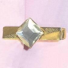 """Tie clip square rhinestone golden metal 1.5"""" ᵃ m1"""