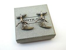 """""""SURFER ON SURFBOARD"""" Shiny Silver Style METAL CUFF LINKS in a SLIM GIFT BOX-NEW"""