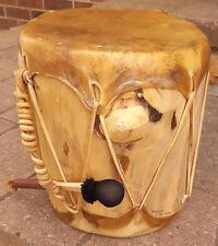 "Navajo Drum w Drumstick-Wood & Skin-New Mexico-Signed Skip Maisel-9.5"" Tall"
