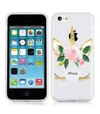 Coque Iphone 5C Licorne eyes liberty fleur rose dore unicorn