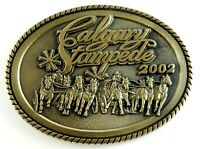 Calgary Stampede 2002 Souvenir Belt Buckle Solid Brass Oval Montana Silversmiths