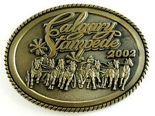 Calgary Stampede 2002 Souvenir Belt Buckle Solid Brass Oval Montana Silversmiths