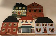 Vintage 1980's The Cat'S Meow Painted Wood Buildings 5 Different