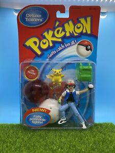 Hasbro (1998) Deluxe Trainers Pokemon Ash and Pickachu New On Card Vintage
