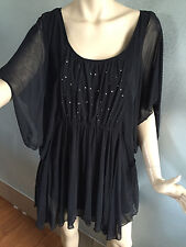 BNWT Womens Sz 16 Autograph Black Sequin Bodice Batwing Sleeve Tunic RRP $70