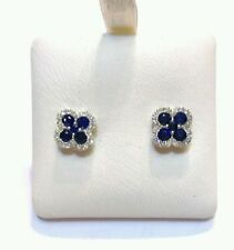 Stud Natural Sapphire White Gold Fine Earrings