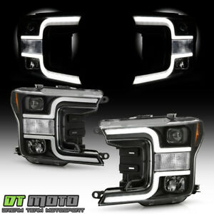 2018-2020 Ford F150 Truck Haloge Black LED Tube Projector Headlights Headlamps