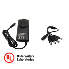 12V DC 3A Power Supply Adapter with 1 to 4 Splitter for LED Light Strip and CCTV