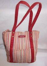 Longaberger Homestead Red Green Market Stripe Cotton Small Tote Lined Purse Bag