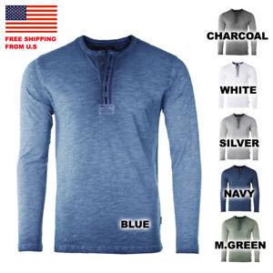 ZIMEGO Mens Long Sleeve Crew Neck Oil Wash Vintage Button Henley T-Shirt