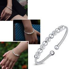 Kids Girls Lucky Beads Open Cuff Bangle Bracelet Silver Plated Woman Girls Gift