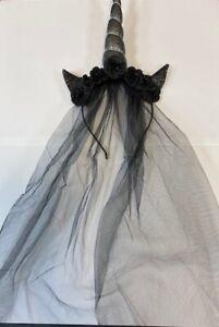 Halloween black unicorn with beaded flowers & veil headband(S729B)