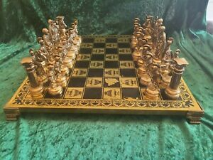 Brass Large Greek King/Queen /army 1972 Chess Set And Board