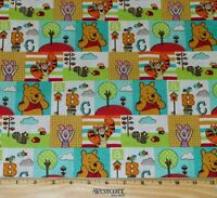 WINNIE THE POOH FABRIC! 1/2 YARD~QUILTING! DISNEY EEYORE~TIGGER~PIGLET~BRIGHT!