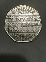 50P COIN RARE BENJAMIN BRITTEN 2013 Free postage