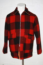 VTG Woolrich Reversible Hunting Jacket Coat Red Buffalo Plaid & Orange USA Sz M