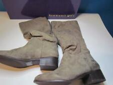 NIB Madden Girl Tall Fabric Boot Zipper Back Taupe 095M