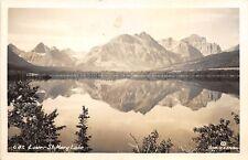 Lower Saint Mary Lake Glacier National Park Montana 1950s RPPC Photo Postcard