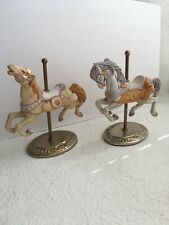 Willits 1986 & 87 Carousel Horses Lot Of 2 Figurine collectible Brass Base
