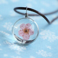 Fashion Peach Flower Glass Women Necklace Pendant Rope Chain Glass Jewelry