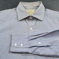 DRAKES Blue Multi Striped 100% Cotton Mens Luxury Dress Shirt - 16