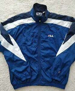 Fila 90's Vintage Nylon Mens Track Top Jacket Navy Blue White Striped Sweatshirt